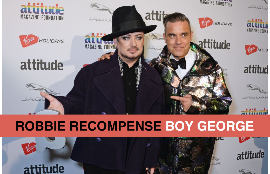 Robbie Williams remet un Award à Boy George!